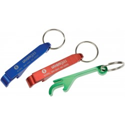 Aluminum bottle/can opener with key ring
