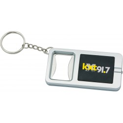 , Keychain / metal bottle opener with white LED light, Busrel