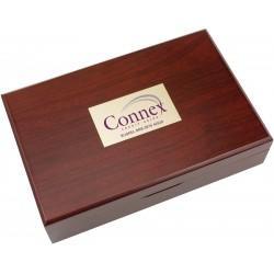 , Mahogany colored wooden case — 5 piece wine service set, Busrel