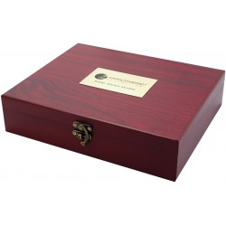 Mahogany colored case with rabbit wine bottle opener — 6 piece wine service set
