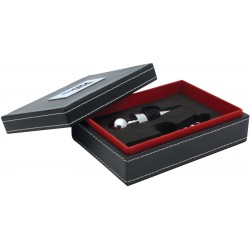 , Black leatherette case — 2 piece wine service set, Busrel