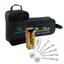 , GOLF PACKAGE (4794)\nBalls, tees, markers, divot repairs tools and a shoe bag and an utility bag, Busrel