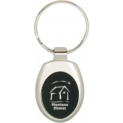 Oval colored metal key tag