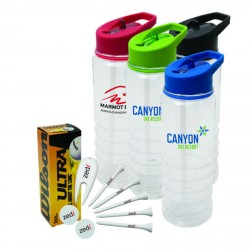 , GOLF PACKAGE (4797)\nBalls, tees, markers, divot repairs tools and a plastic sport bottle and accessories inserted, Busrel