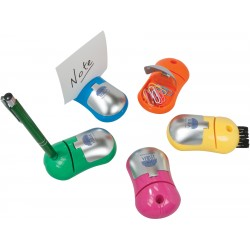 Colored desk mouse with paper clip compartment and retactable brush